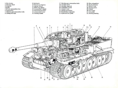 TIGER TANK DIAGRAM GLOSSY POSTER PICTURE BANNER blueprint