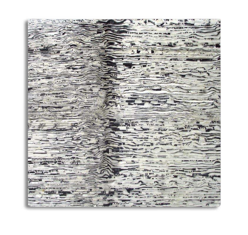 "moon: moon images & glue on plywood (1998) 7"" x 7"" x 1"""