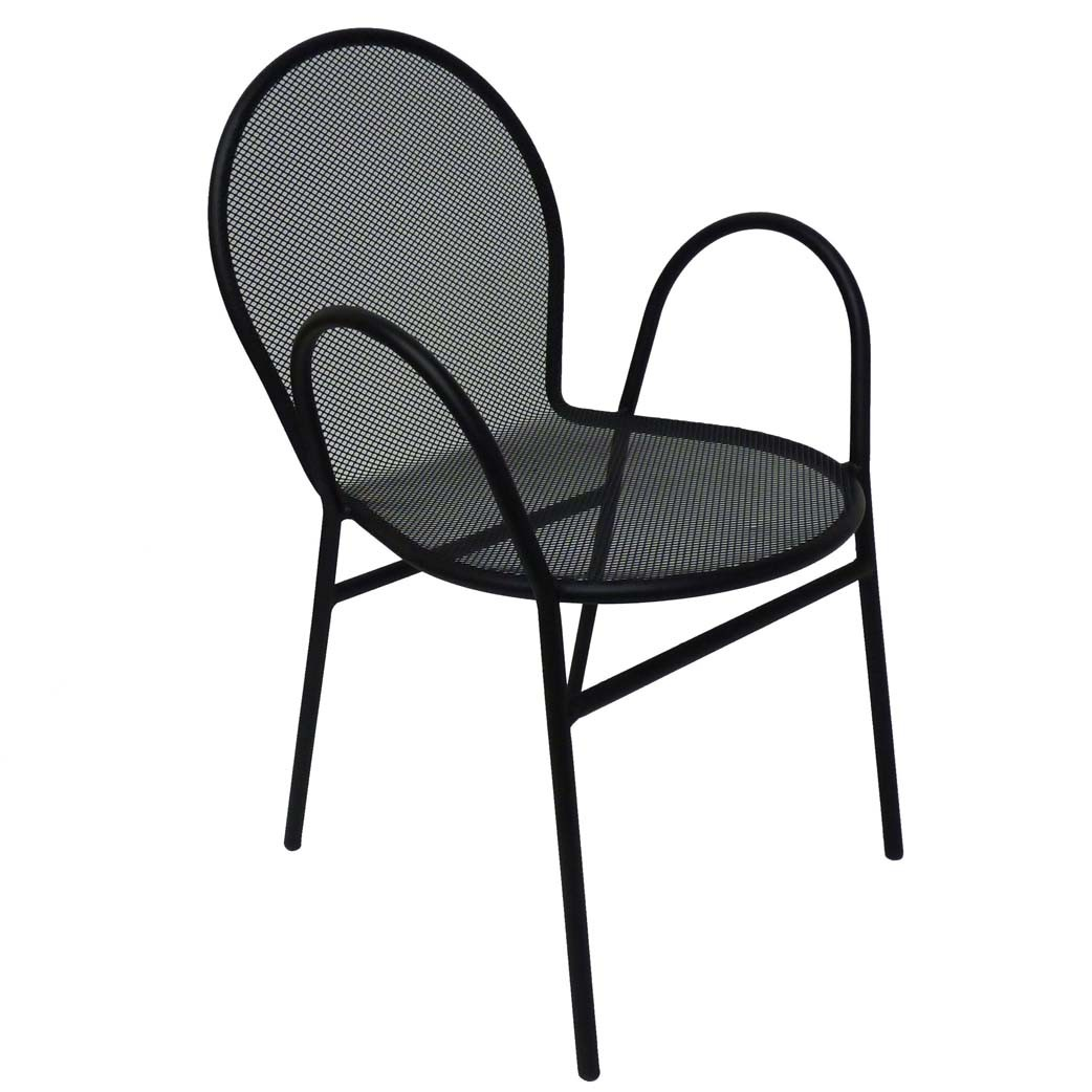 Black Metal Patio Chairs All About Furniture Om110 Black Mesh Outdoor Steel