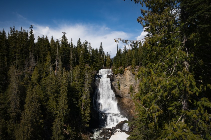 Alexander Falls in Whistler is accessible from the Sea to Sky Highway