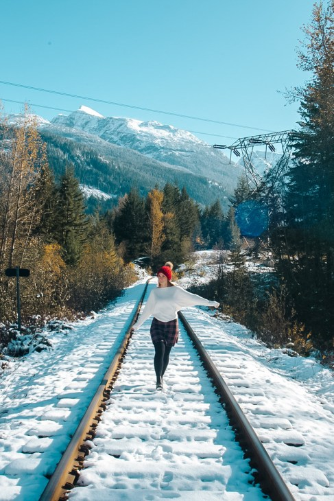 Snow covered train tracks in Whistler, Canada