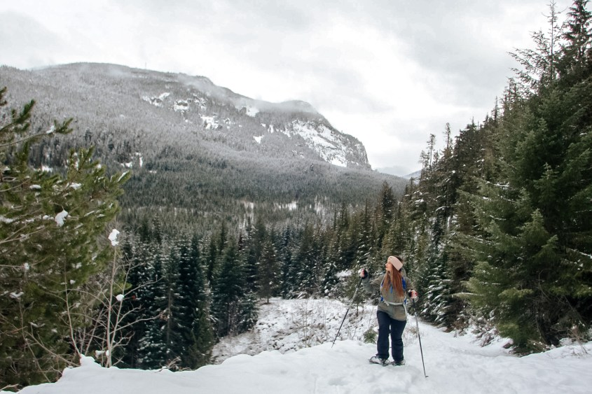 The Loggers Lake Trail in Whistler is a quiet area to snowshoe