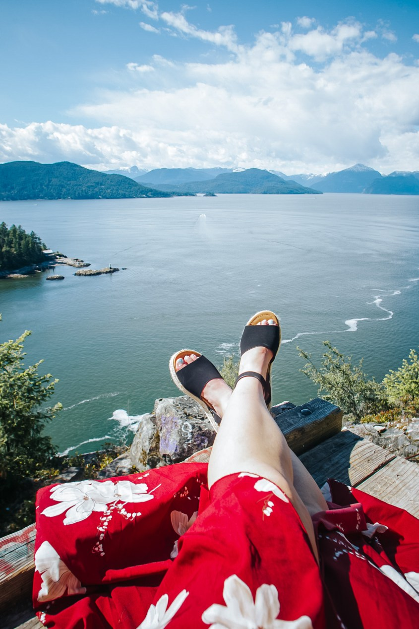 Enjoying a sunny day looking out over Howe Sound from the Horseshoe Bay lookout platform near Vancouver