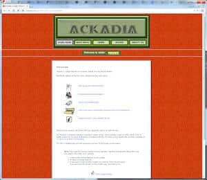 screenshot of Ackadia, 2001, v3.1