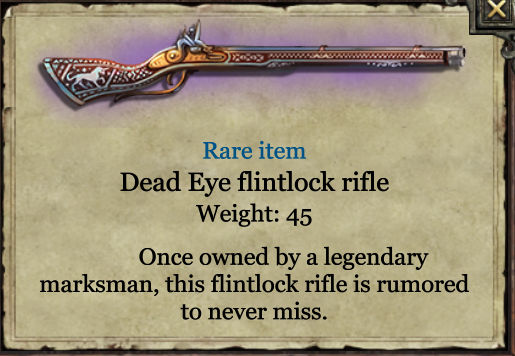 Grimmwood Dead-eye flintlock rifle
