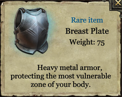 Grimmwood rare Breast plate armour