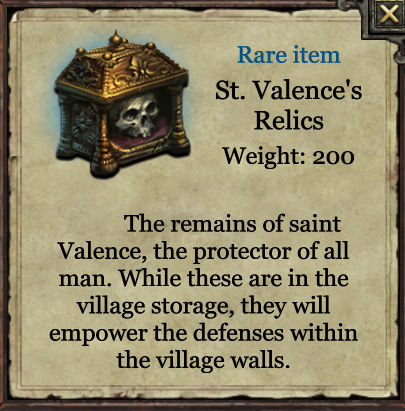 Grimmwood rare - St Valences relics