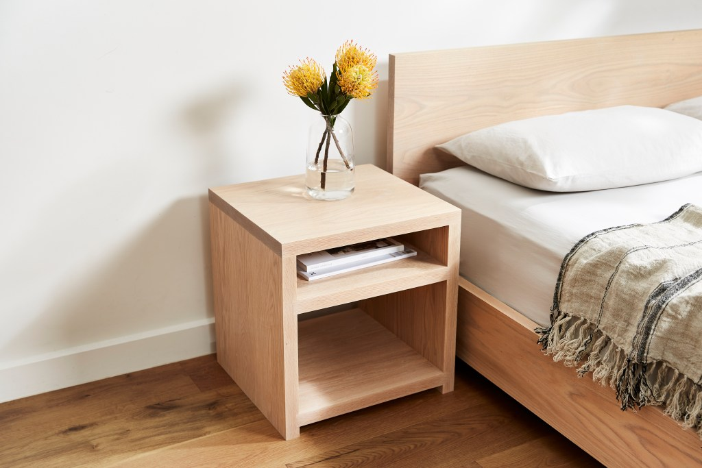 American White Oak Timber Bed and Bedside