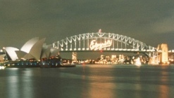 Eternity sign on Sydney Harbour Bridge, January 2000