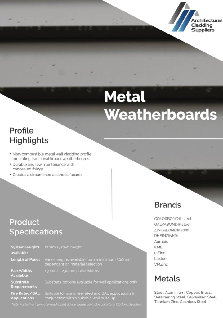 ACS Data Sheet   Metal Weatherboards V1 pdf  page 1 of 2  - Metal Weatherboards