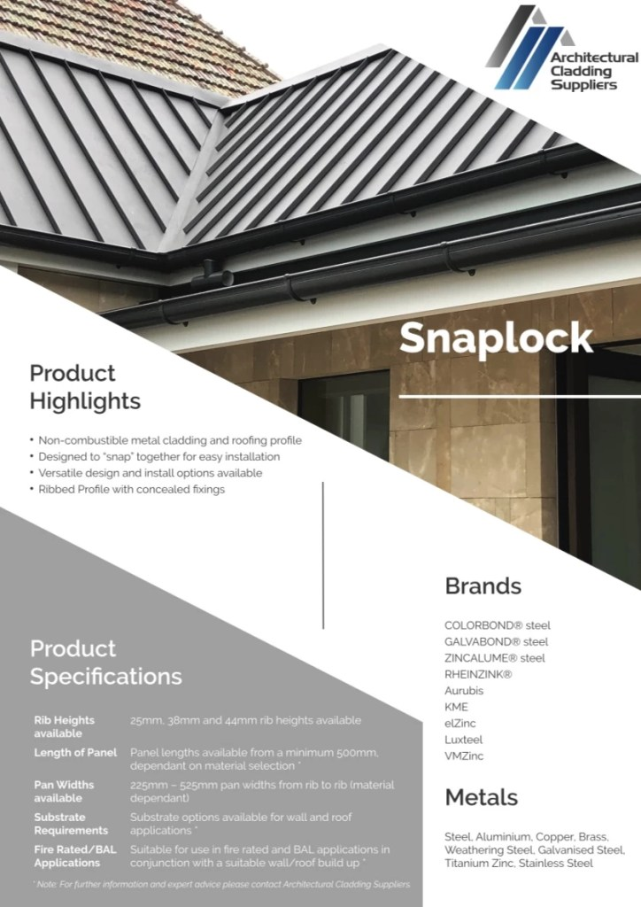 ACS Data Sheet   Snaplock V1 pdf  page 1 of 2  - Snaplock Metal Cladding and Roofing