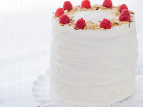 Lemon Raspberry Cake With Honey Mascarpone Filling And Cream Cheese