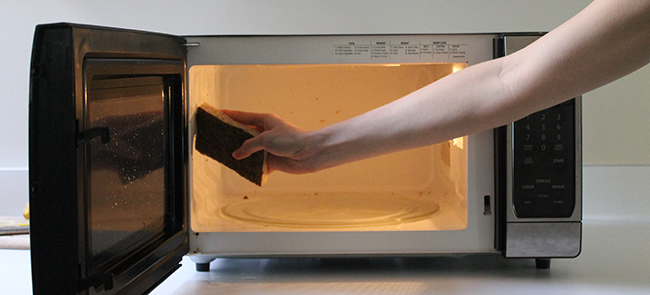 Use lemon and water to steam your microwave and sponge clean