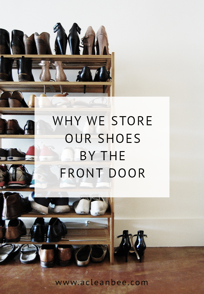 Front door shoe storage is a great way to reduce entry-way clutter