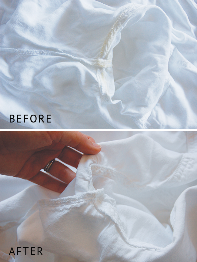 Before and after using this fool proof recipe to remove sweat stains from white clothes