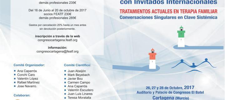 Congreso Nacional de Terapia Familiar en Cartagena (Murcia). 26, 27 y 28 de octubre de 2017