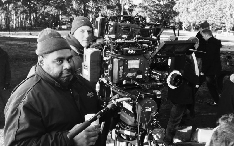Murray Lui (DOP) and Simon Riera NZCS (Camera Operator) filming on location with 'Rosehaven_ - PHOTO Duncan Scott