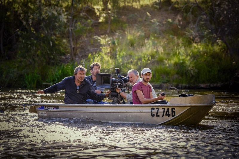 Peter White (1AC), Clint Dodd (SFX Coordinator), László Baranyai ACS HSC (DOP), and Grant Scicluna (Director) filming 'Downriver' - PHOTO Brent Lukey