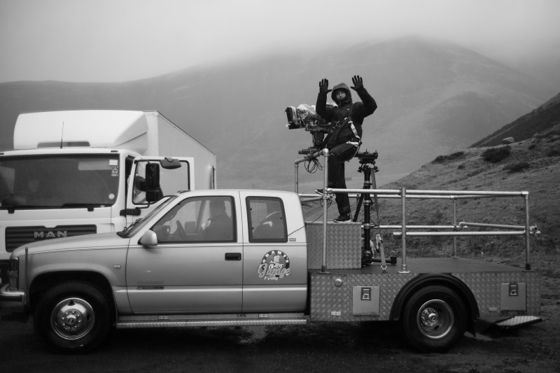 Cinematographer Sam Chiplin freezing in Mennock Pass Scotland, shooting 'The Cry - PHOTO Glendyn Ivin