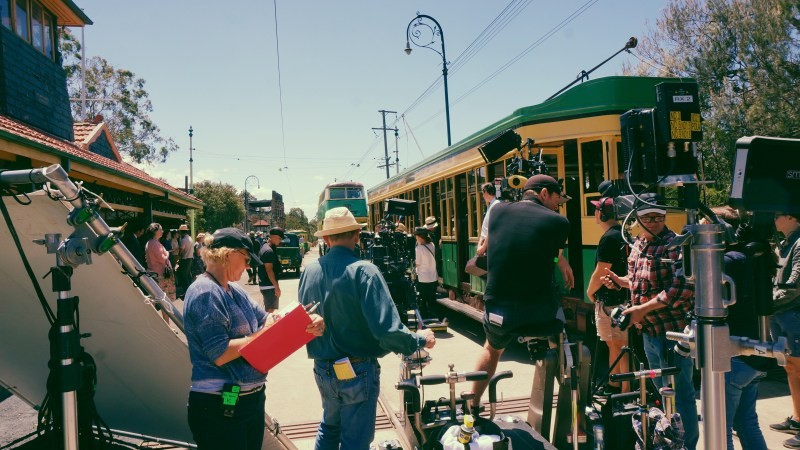 Filming 'Ladies in Black' with a two camera setup at the Sydney Tramway Museum for 1950s Elizabeth Street, with a little help from the Visual Effects team - PHOTO Peter James ACS ASC