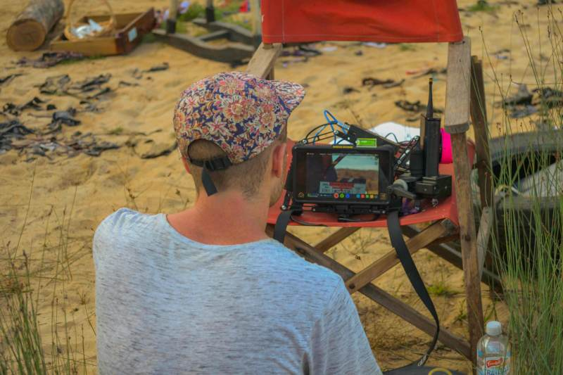 Director Luke Sullivan watching the monitor - PHOTO Angus Hoy