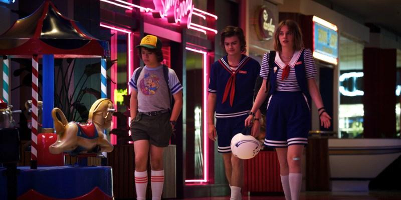 Dustin (Gaten Matarazzo), Steve (Joe Keery) and Robin (Maya Hawke) in the third season of Netflix's 'Stranger Things' - DOP Lachlan Milne ACS