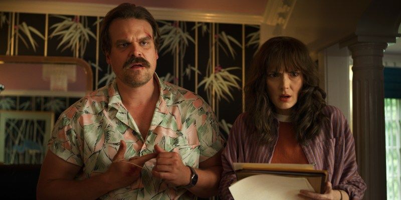 Jim Hopper (David Harbour) and Joyce Byers (Winnona Ryder) in the third season of Netflix 'Stranger Things' - DOP Lachlan Milne