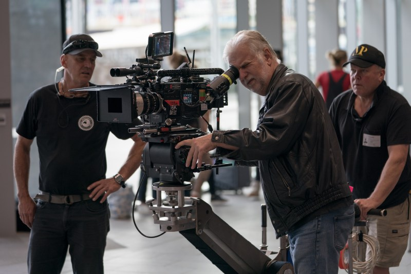 Cinematographer Henry Pierce ACS checking the frame on 'Between Two Worlds', with A-Camera operator Stedicam Geoff Owen and dolly grip Dave Shaw - PHOTO Brook Rushton