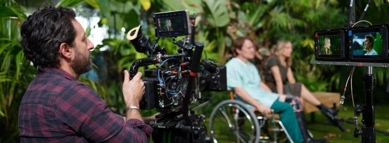 Cinematographer Earle Dresner ACS operating A-cam on 'The Commons' - PHOTO John Platt