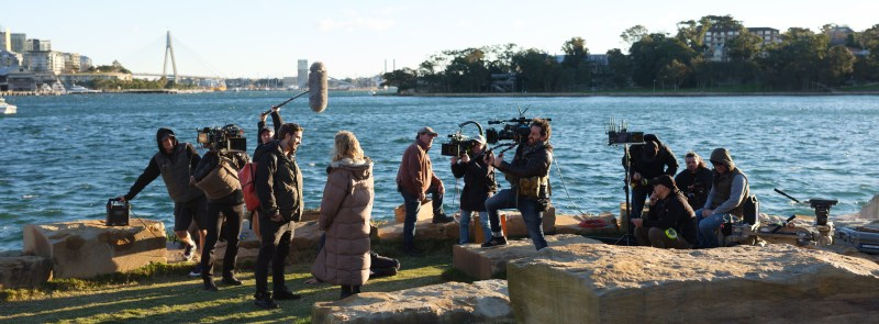 Cinematographer Earle Dresner (behind the camera) with cast and crew on location with 'The Commons' - PHOTO John Platt