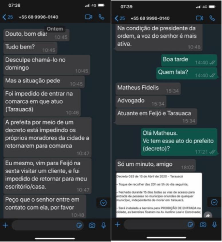 Diálogo entre Matheus Augusto de Oliveira Fidelis e Erick Venâncio de Lima Nascimento. [Reprodução. Conteúdo processual. Autos nº. 1002510-24.2020.4.01.3000]
