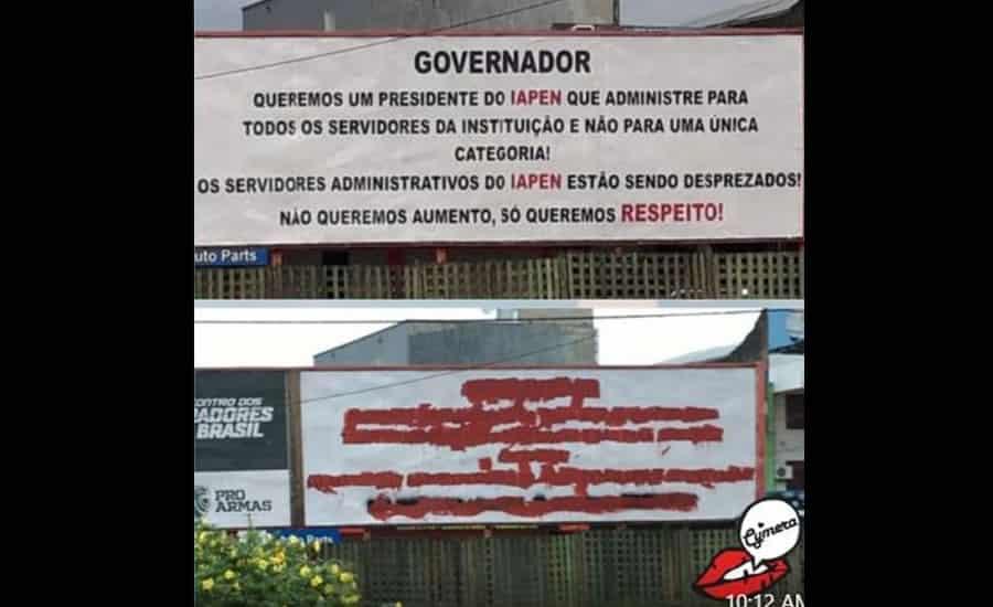 Sindicato repudia ato de vandalismo em outdoor que criticava presidente do IAPEN