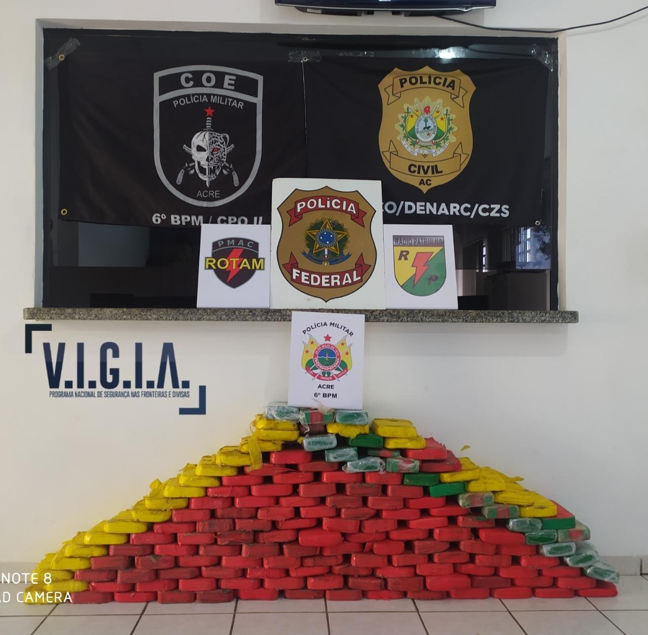 Operação apreende 148 quilos de cocaína em Cruzeiro do Sul; prejuízo é de R$ 1,6 milhões