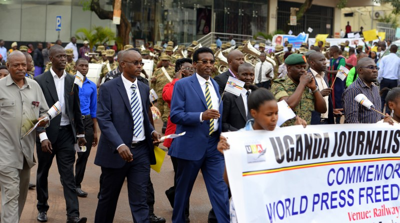 Information minister Jim Muhwezi at 2016 World Press Freedom Day march in Kampala