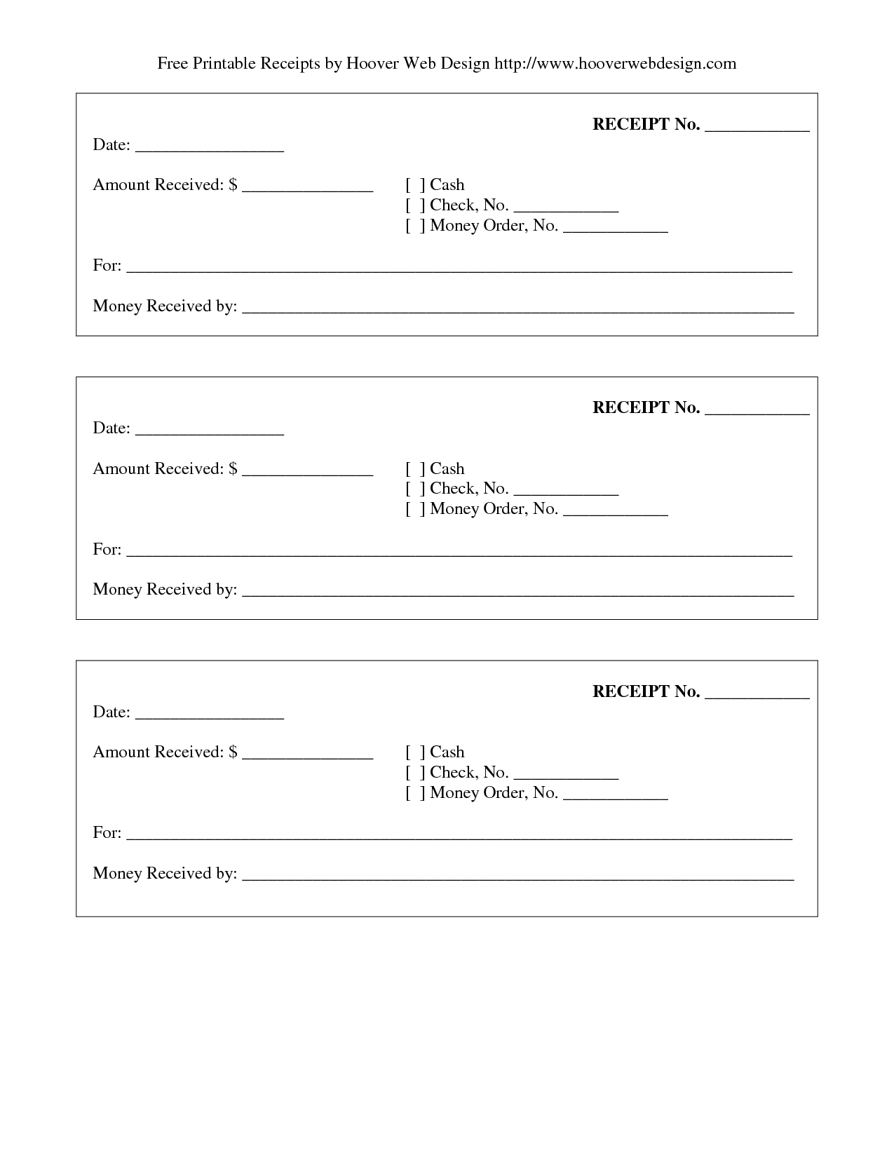 Printable Receipts Templates