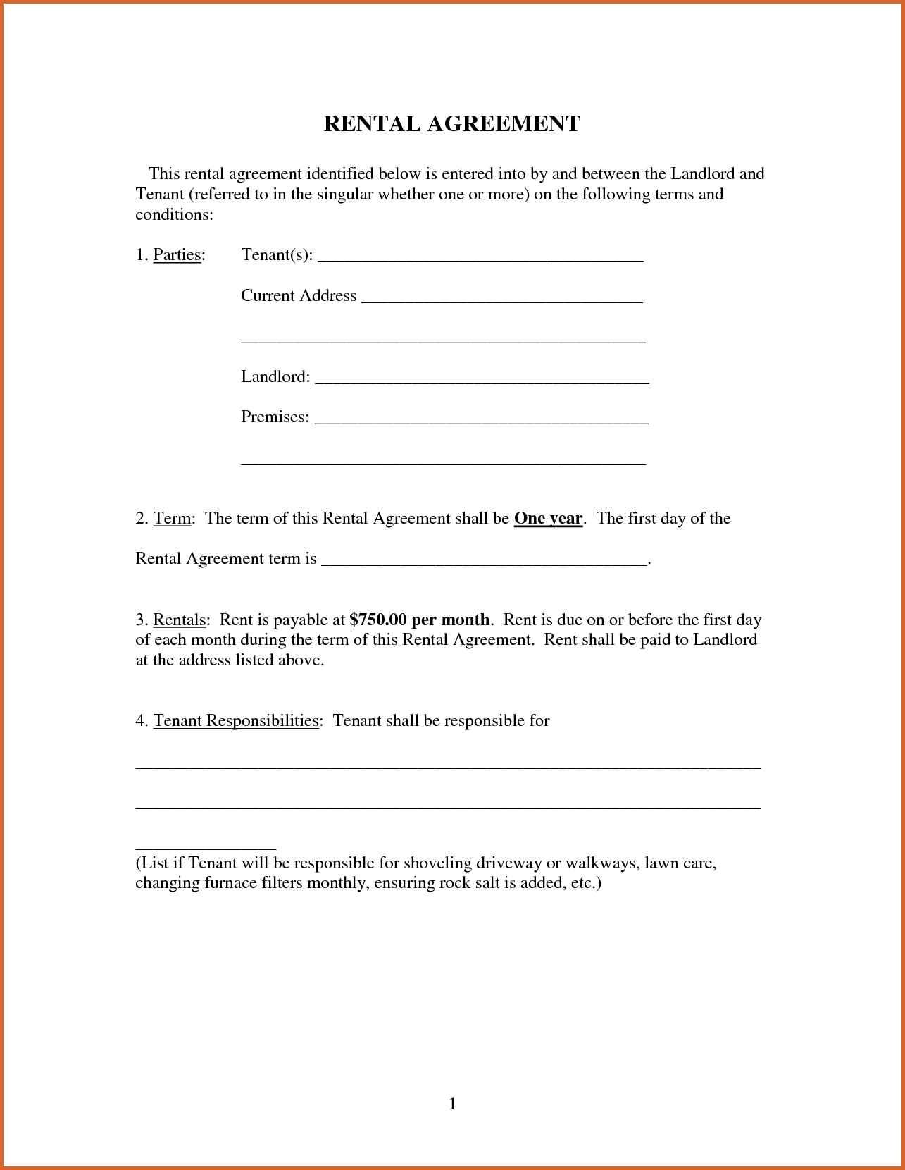 Printable Rental Agreement Free