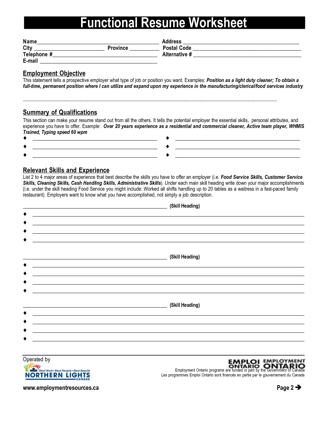Resume Worksheet Printable