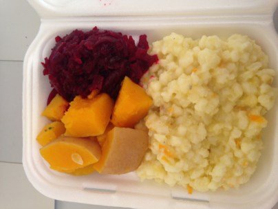 Beetroot, butternut, and samp at Curry Pot