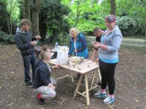 Clay modelling beside the canal with local potter Julia.