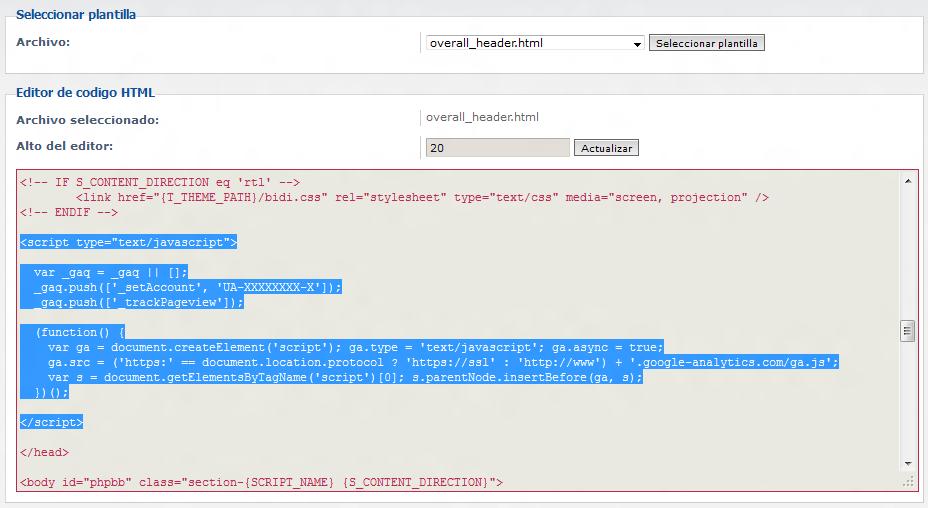 Insertar Google Analytics phpBB