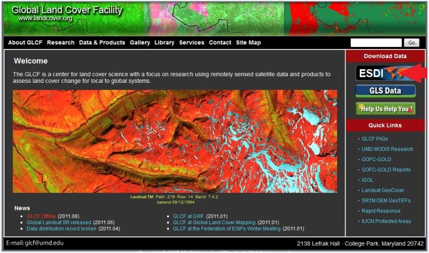 Imagen satelital landsat GLCF