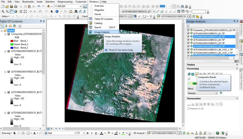Composite Bands Imagine Analysis ArcGIS 10
