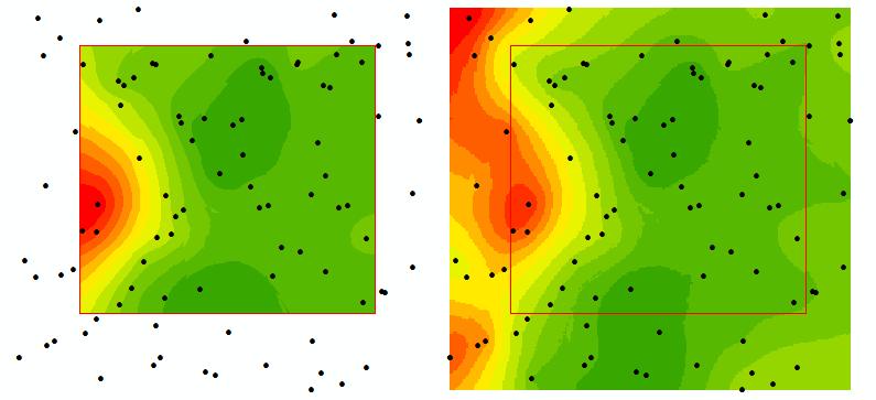 Imagínese que usted está interesado en el área de estudio dentro del cuadro rojo. En el mapa arriba, se puede ver el resultado de la utilización de puntos sólo desde dentro del área de estudio (los puntos azules) para llevar a cabo la interpolación. En el mapa inferior, hemos incluido puntos de dentro y fuera de la zona de estudio (puntos verdes) para la interpolación, y luego a recortar el área que nos interesa (el área dentro de la caja roja). Ambos mapas están simbolizados utilizando el mismo esquema de color y clasificación. Notar cambios en la forma del contorno de precipitación en áreas que están cerca del borde del límite del área de estudio que son el resultado de la inclusión de puntos de datos en todos los lados de todos los puntos de muestreo dentro de la zona de estudio.