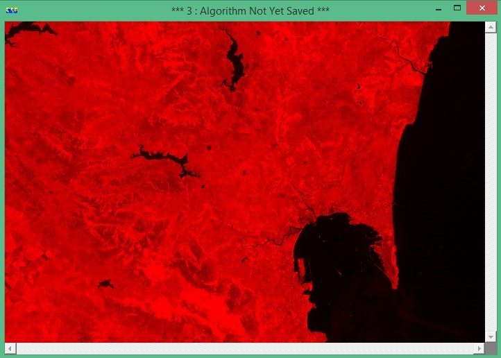 Banda 4 (infrarrojo cercano) en el Rojo.