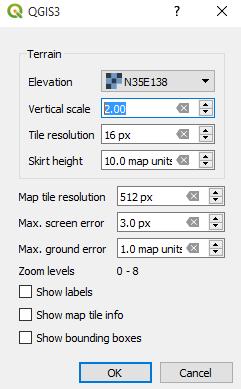 Configurar ventana 3D en QGIS 3