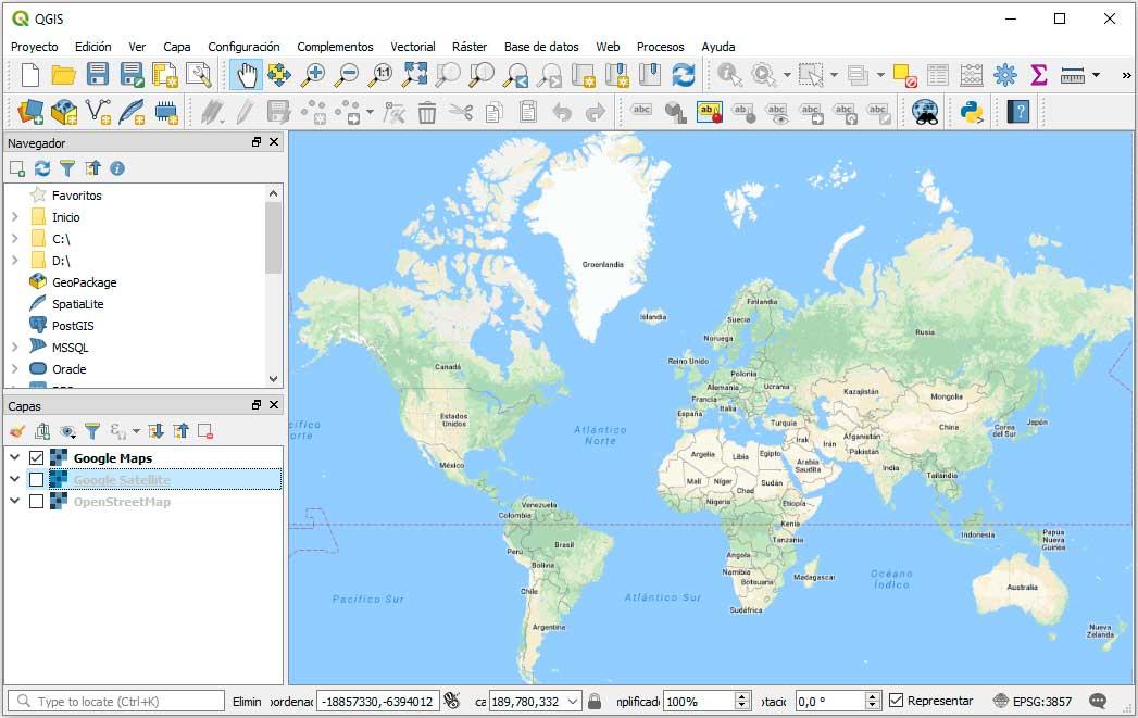 Google Maps Earth en QGIS 3