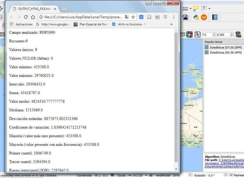 Estadísticas HTML QGIS 3