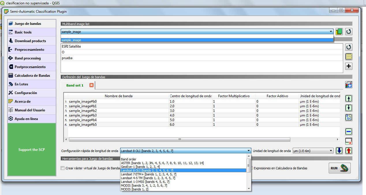 Configuración de la Longitud de Onda QGIS 3