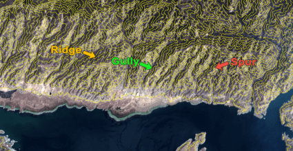 Curvas de nivel en un valle