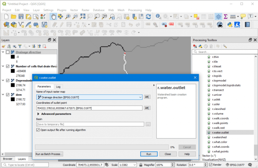 r.water.outlet Grass QGIS 3.10